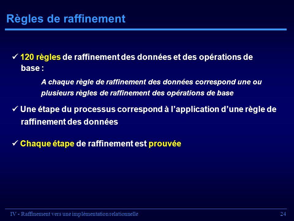 Règles de raffinement  120 règles de raffinement des données et des opérations de. base :