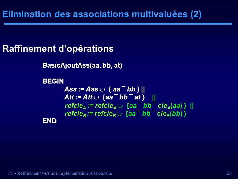 Elimination des associations multivaluées (2)