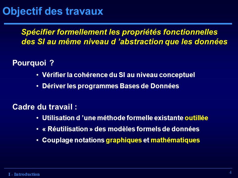Objectif des travaux Spécifier formellement les propriétés fonctionnelles des SI au même niveau d 'abstraction que les données.