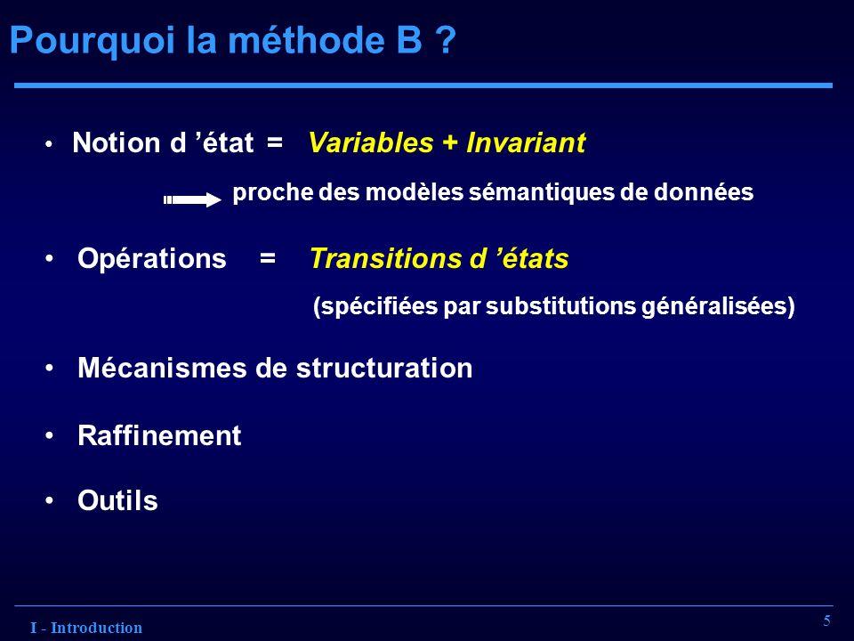 Pourquoi la méthode B Opérations = Transitions d 'états