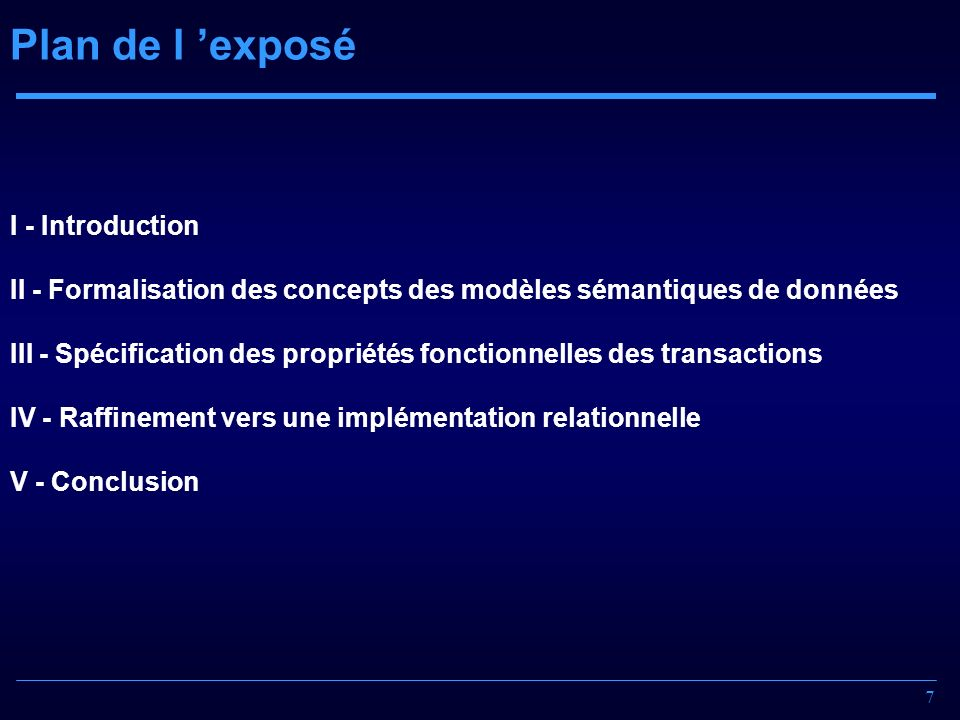 Plan de l 'exposé I - Introduction