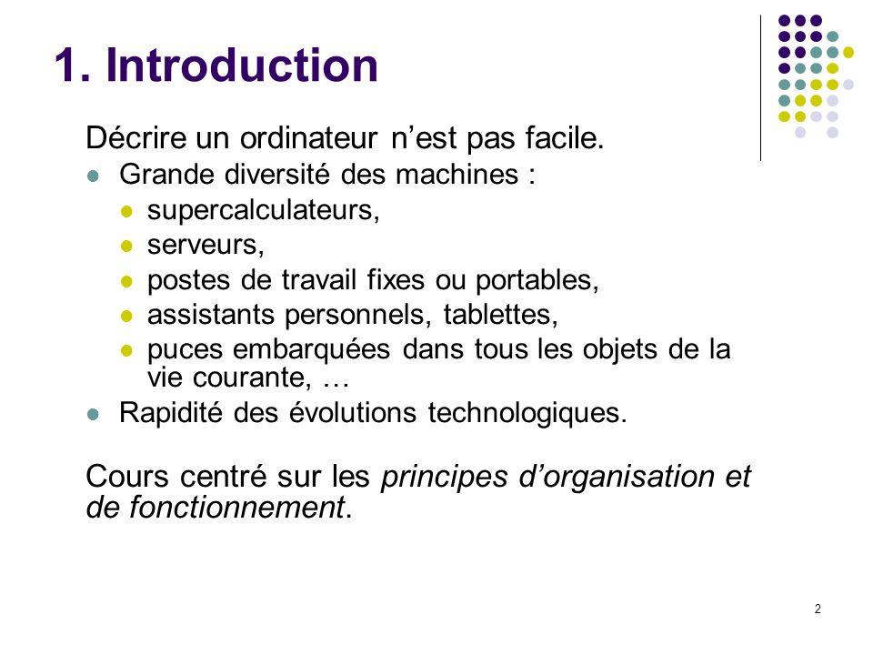 1. Introduction Décrire un ordinateur n'est pas facile.