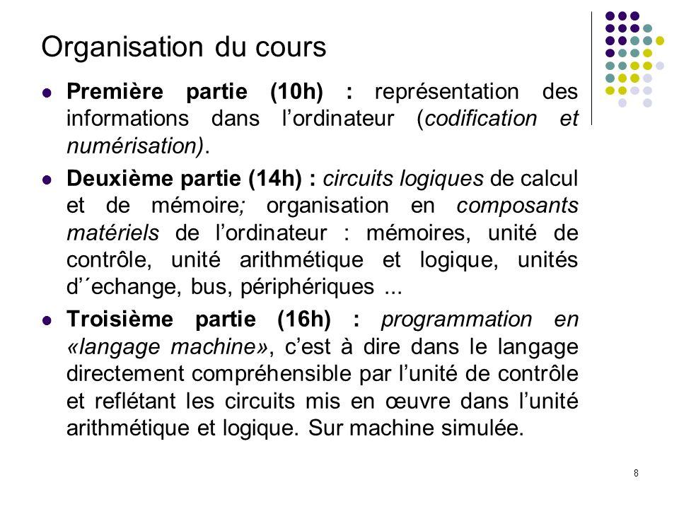 Organisation du cours Première partie (10h) : représentation des informations dans l'ordinateur (codification et numérisation).