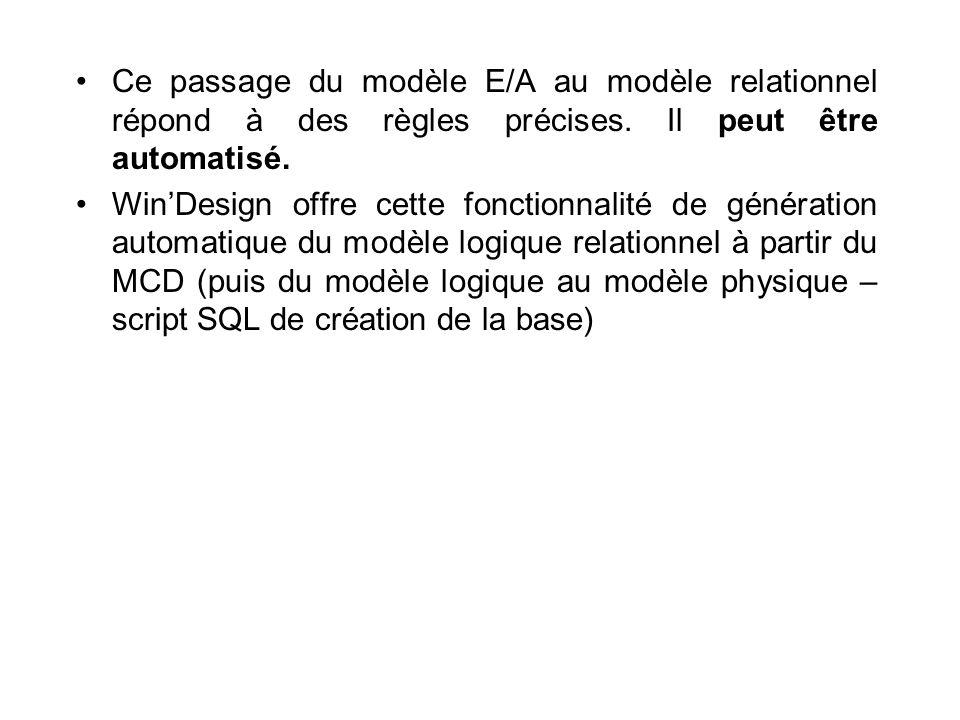 Ce passage du modèle E/A au modèle relationnel répond à des règles précises. Il peut être automatisé.