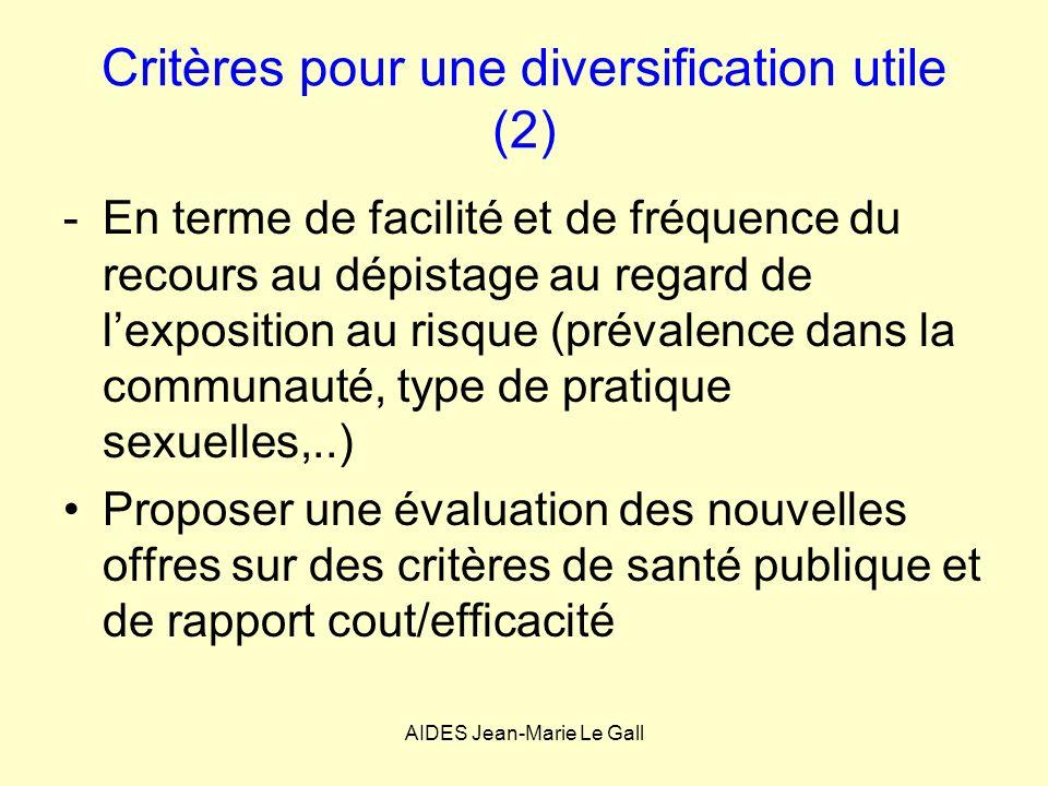 Critères pour une diversification utile (2)