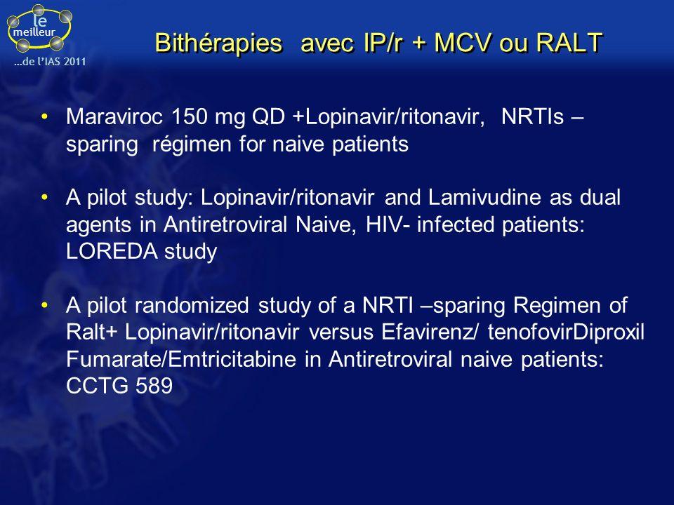 Bithérapies avec IP/r + MCV ou RALT