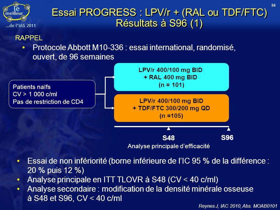 Essai PROGRESS : LPV/r + (RAL ou TDF/FTC) Résultats à S96 (1)