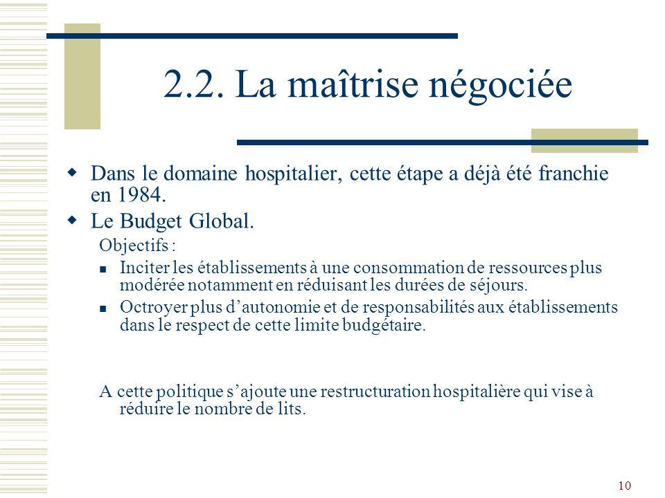 2.2. La maîtrise négociée Dans le domaine hospitalier, cette étape a déjà été franchie en 1984. Le Budget Global.