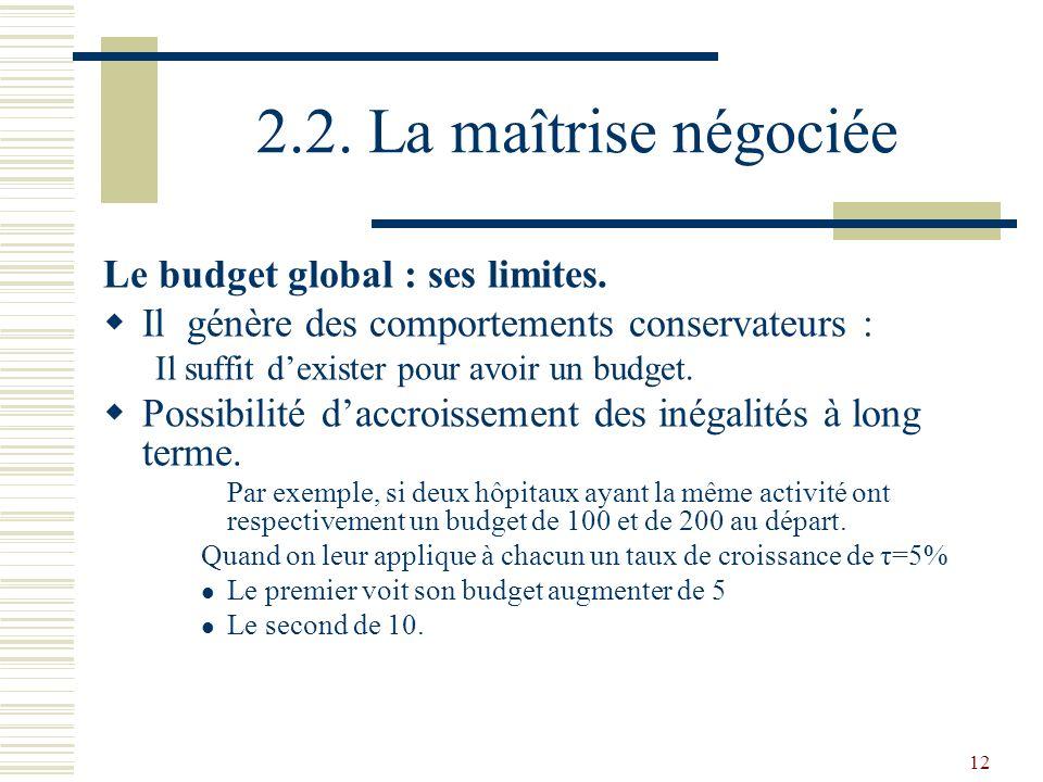 2.2. La maîtrise négociée Le budget global : ses limites.