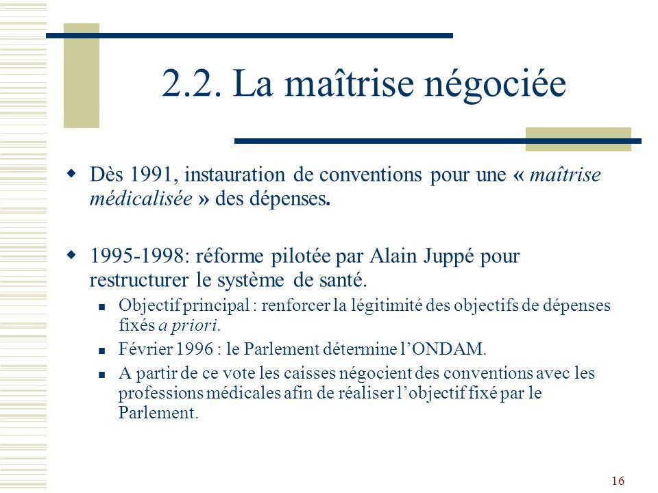 2.2. La maîtrise négociée Dès 1991, instauration de conventions pour une « maîtrise médicalisée » des dépenses.