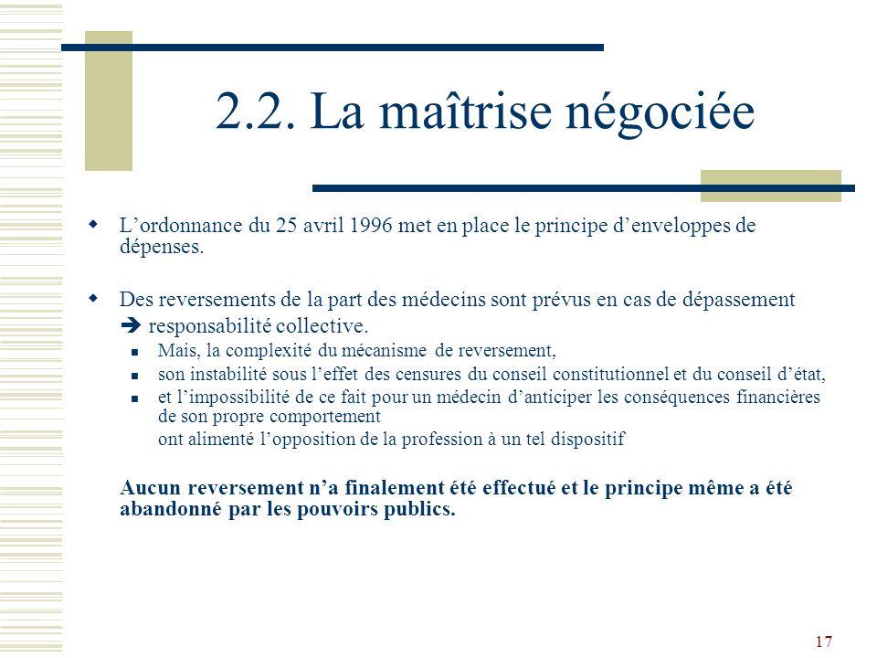 2.2. La maîtrise négociée L'ordonnance du 25 avril 1996 met en place le principe d'enveloppes de dépenses.