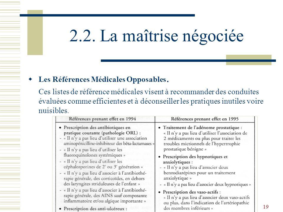 2.2. La maîtrise négociée Les Références Médicales Opposables.