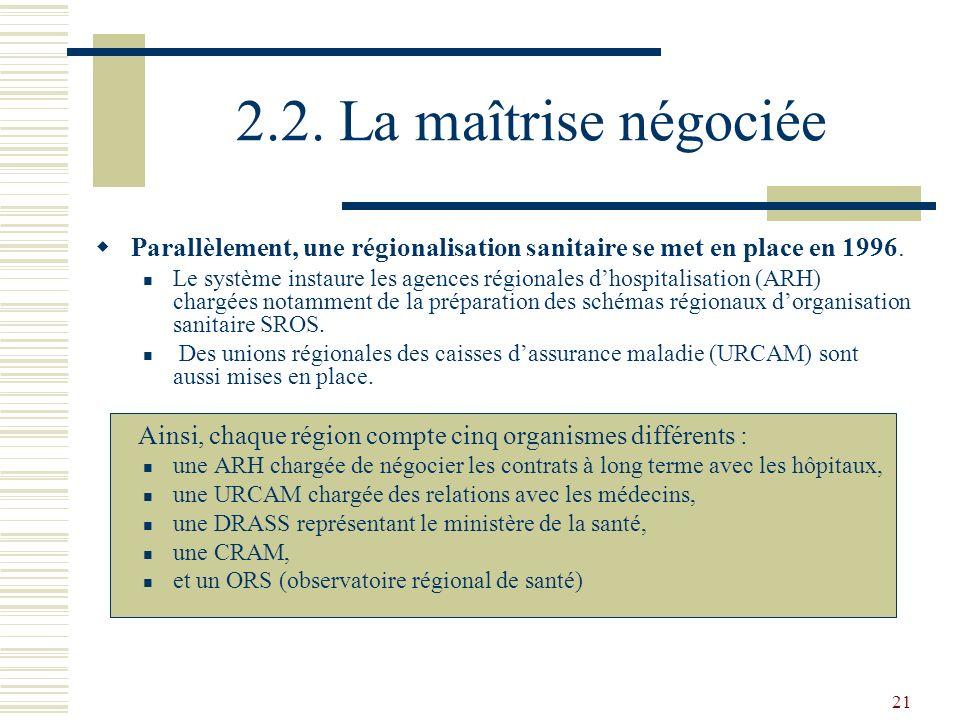 2.2. La maîtrise négociée Parallèlement, une régionalisation sanitaire se met en place en 1996.