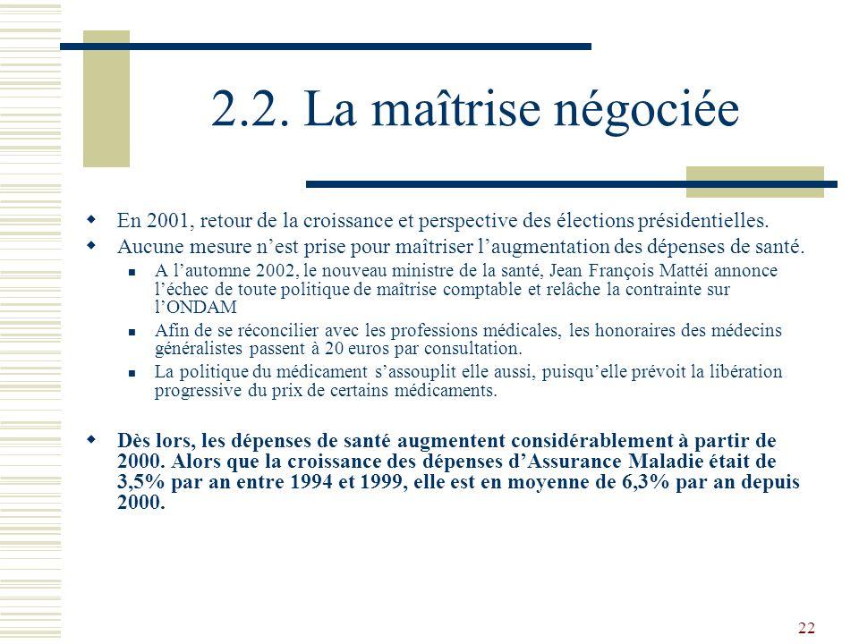 2.2. La maîtrise négociée En 2001, retour de la croissance et perspective des élections présidentielles.
