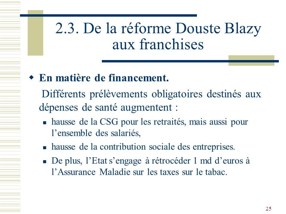 2.3. De la réforme Douste Blazy aux franchises
