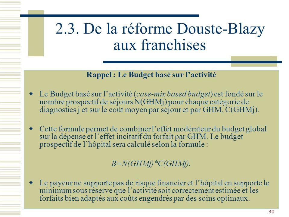 2.3. De la réforme Douste-Blazy aux franchises
