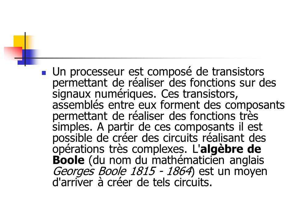 Un processeur est composé de transistors permettant de réaliser des fonctions sur des signaux numériques.