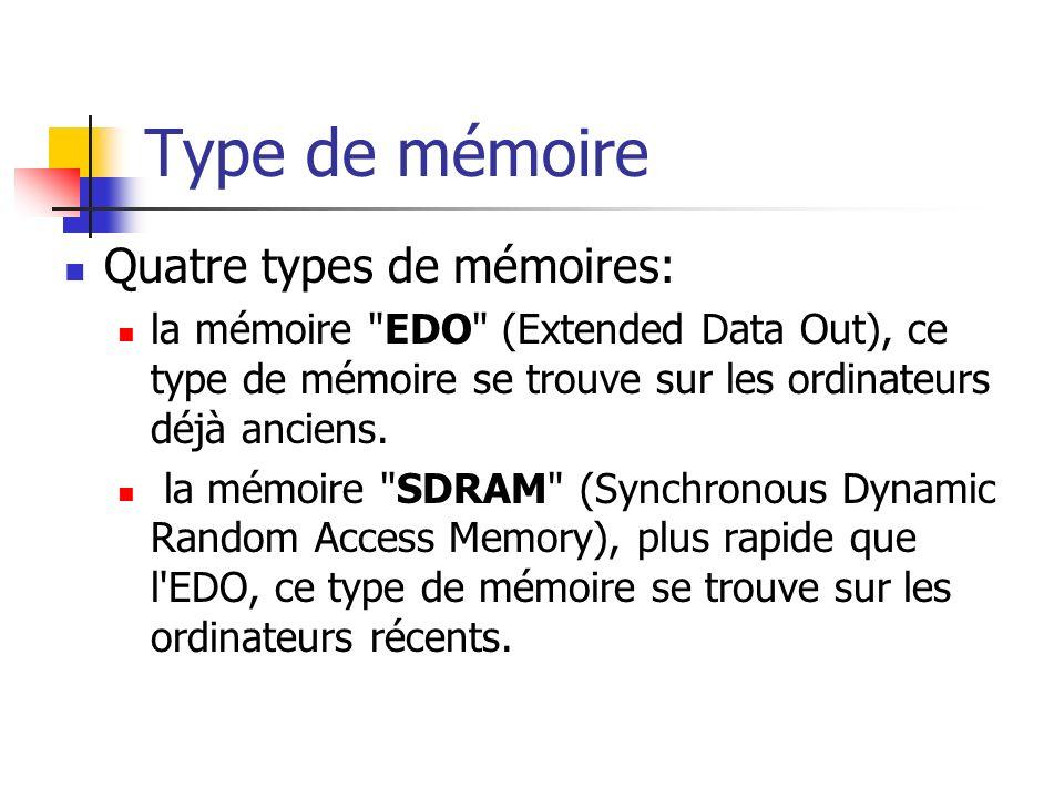 Type de mémoire Quatre types de mémoires: