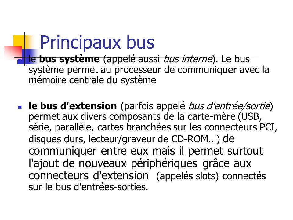 Principaux bus le bus système (appelé aussi bus interne). Le bus système permet au processeur de communiquer avec la mémoire centrale du système.