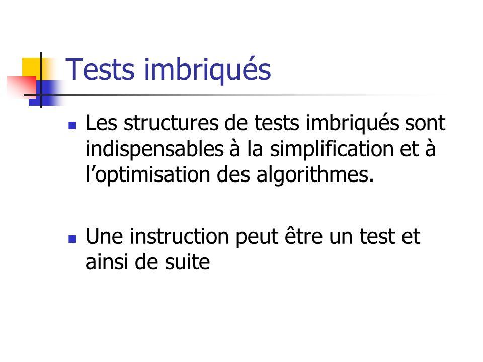 Tests imbriqués Les structures de tests imbriqués sont indispensables à la simplification et à l'optimisation des algorithmes.
