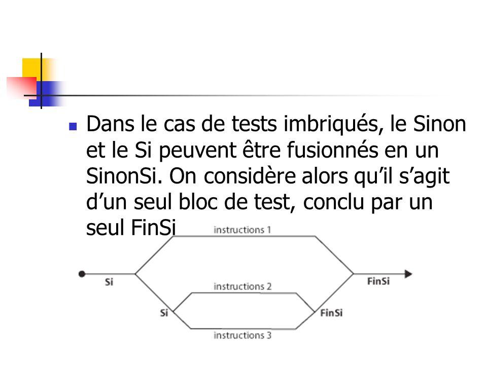 Dans le cas de tests imbriqués, le Sinon et le Si peuvent être fusionnés en un SinonSi.