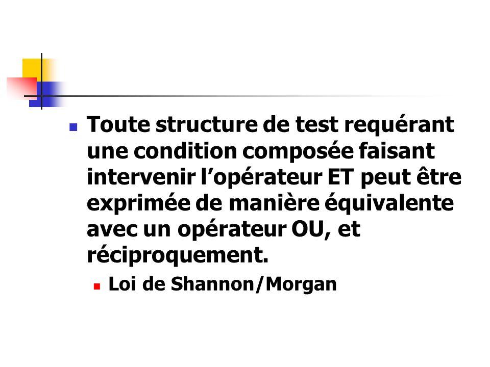 Toute structure de test requérant une condition composée faisant intervenir l'opérateur ET peut être exprimée de manière équivalente avec un opérateur OU, et réciproquement.