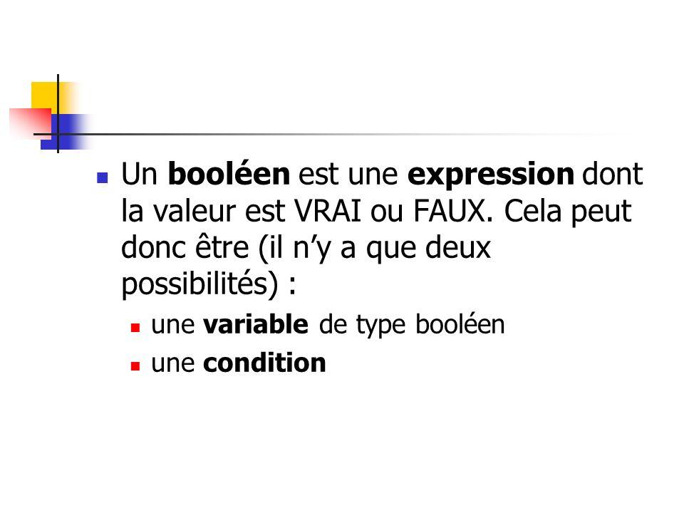 Un booléen est une expression dont la valeur est VRAI ou FAUX