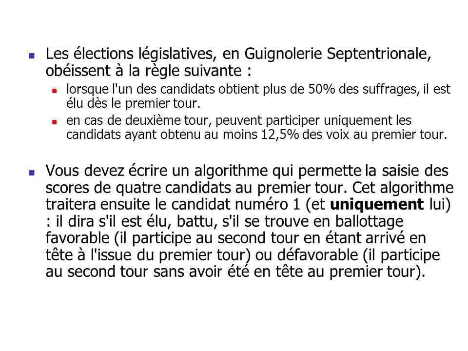 Les élections législatives, en Guignolerie Septentrionale, obéissent à la règle suivante :