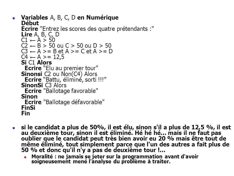 Variables A, B, C, D en Numérique Début Ecrire Entrez les scores des quatre prétendants : Lire A, B, C, D C1 ← A > 50 C2 ← B > 50 ou C > 50 ou D > 50 C3 ← A >= B et A >= C et A >= D C4 ← A >= 12,5 Si C1 Alors Ecrire Elu au premier tour Sinonsi C2 ou Non(C4) Alors Ecrire Battu, éliminé, sorti !!! SinonSi C3 Alors Ecrire Ballotage favorable Sinon Ecrire Ballotage défavorable FinSi Fin