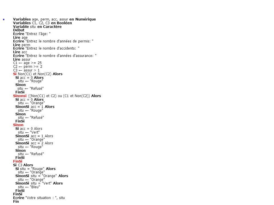 Variables age, perm, acc, assur en Numérique Variables C1, C2, C3 en Booléen Variable situ en Caractère Début Ecrire Entrez l'âge: Lire age Ecrire Entrez le nombre d années de permis: Lire perm Ecrire Entrez le nombre d accidents: Lire acc Ecrire Entrez le nombre d années d assurance: Lire assur C1 ← age >= 25 C2 ← perm >= 2 C3 ← assur > 1 Si Non(C1) et Non(C2) Alors Si acc = 0 Alors situ ← Rouge Sinon situ ← Refusé FinSi Sinonsi ((Non(C1) et C2) ou (C1 et Non(C2)) Alors Si acc = 0 Alors situ ← Orange SinonSi acc = 1 Alors situ ← Rouge Sinon situ ← Refusé FinSi Sinon Si acc = 0 Alors situ ← Vert SinonSi acc = 1 Alors situ ← Orange SinonSi acc = 2 Alors situ ← Rouge Sinon situ ← Refusé FinSi FinSi Si C3 Alors Si situ = Rouge Alors situ ← Orange SinonSi situ = Orange Alors situ ← Orange SinonSi situ = Vert Alors situ ← Bleu FinSi FinSi Ecrire Votre situation : , situ Fin
