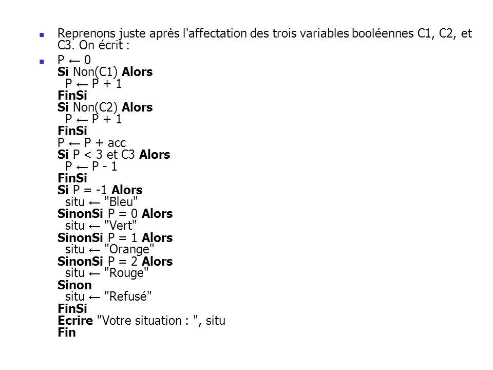 Reprenons juste après l affectation des trois variables booléennes C1, C2, et C3. On écrit :
