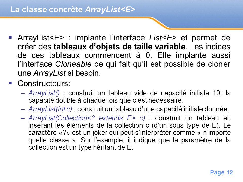 La classe concrète ArrayList<E>