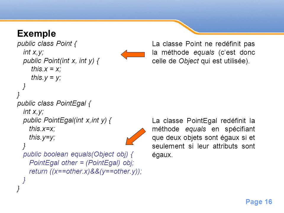 Exemple public class Point { int x,y;
