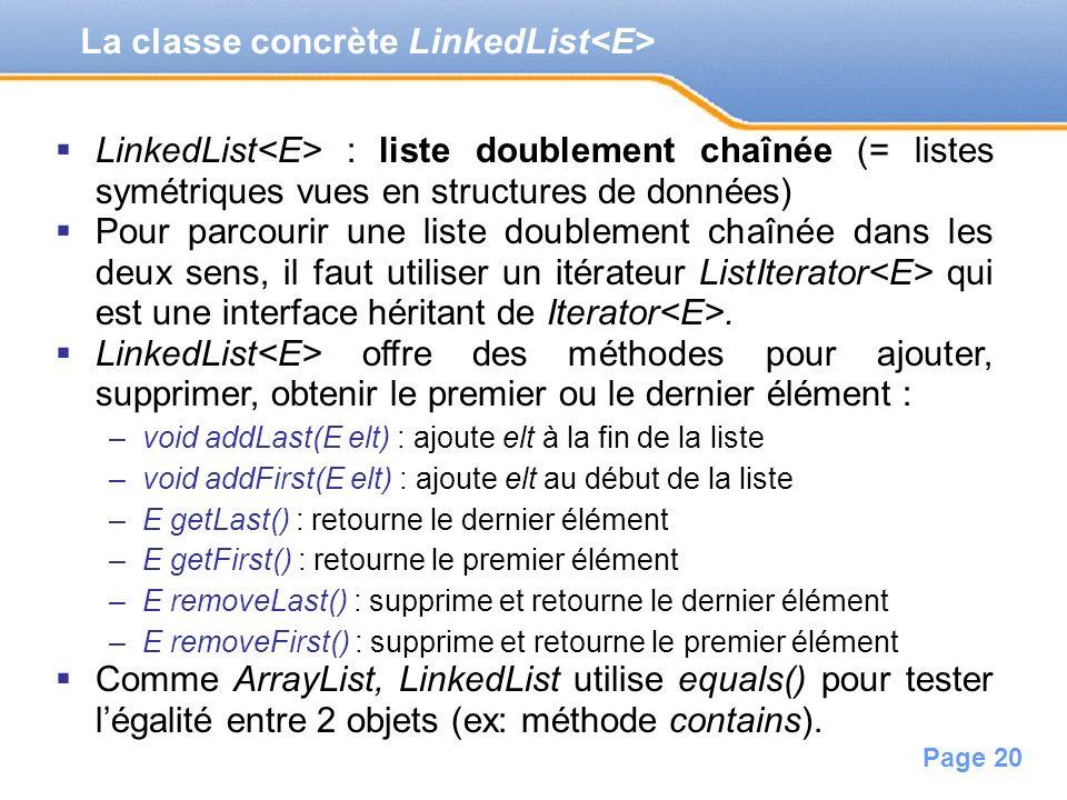 La classe concrète LinkedList<E>