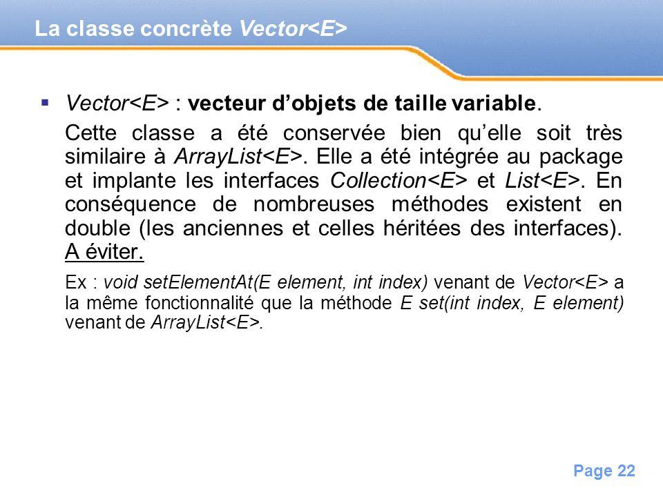 La classe concrète Vector<E>