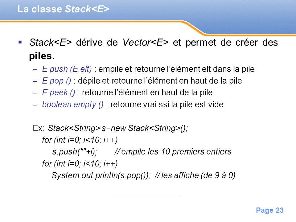 La classe Stack<E>