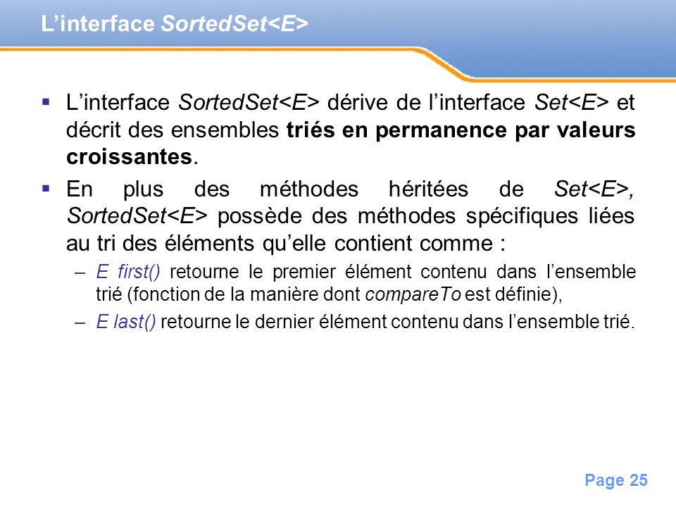 L'interface SortedSet<E>