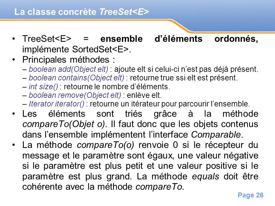La classe concrète TreeSet<E>