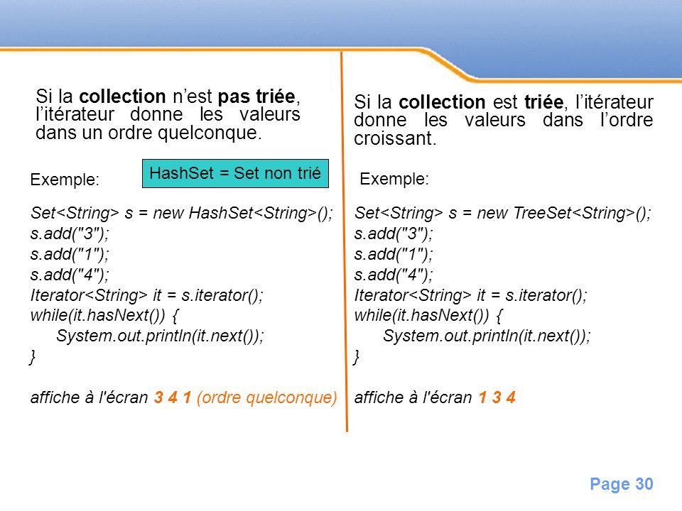 Si la collection n'est pas triée, l'itérateur donne les valeurs dans un ordre quelconque.