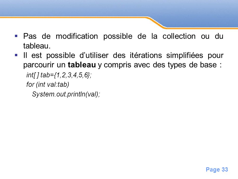Pas de modification possible de la collection ou du tableau.