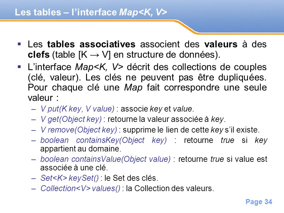 Les tables – l'interface Map<K, V>