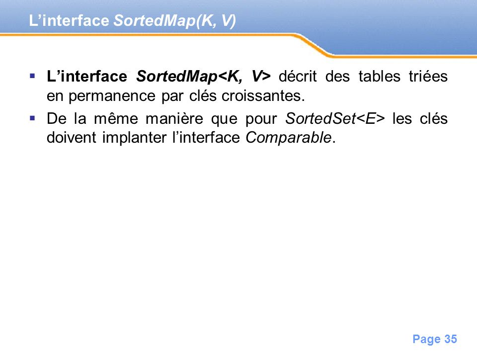 L'interface SortedMap(K, V)