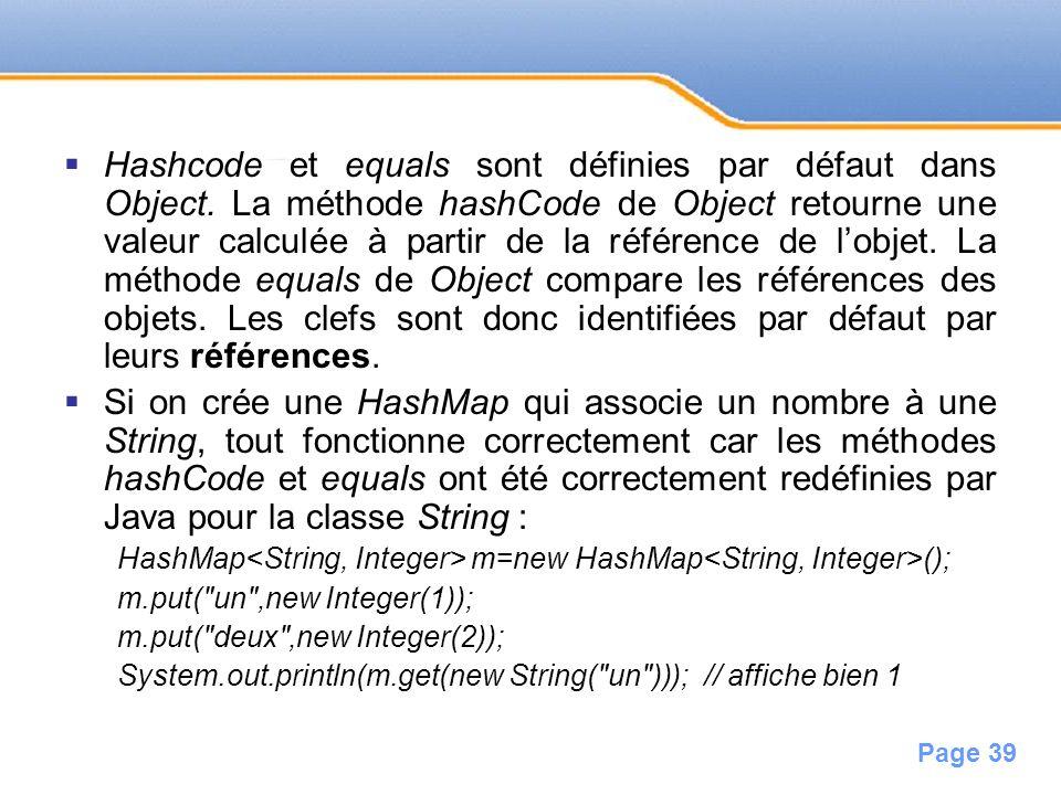 Hashcode et equals sont définies par défaut dans Object