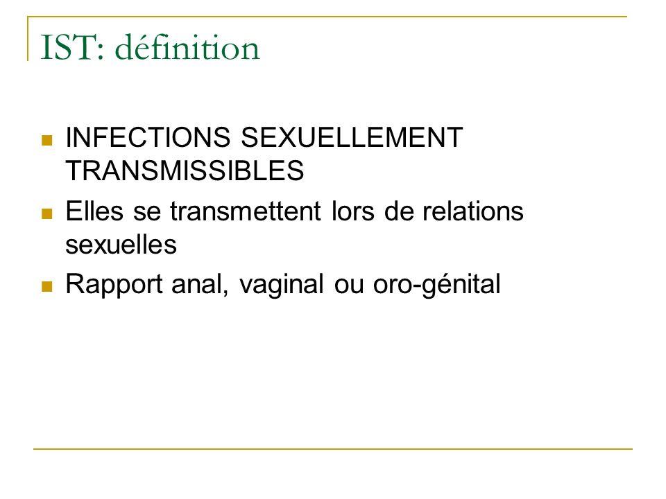 IST: définition INFECTIONS SEXUELLEMENT TRANSMISSIBLES