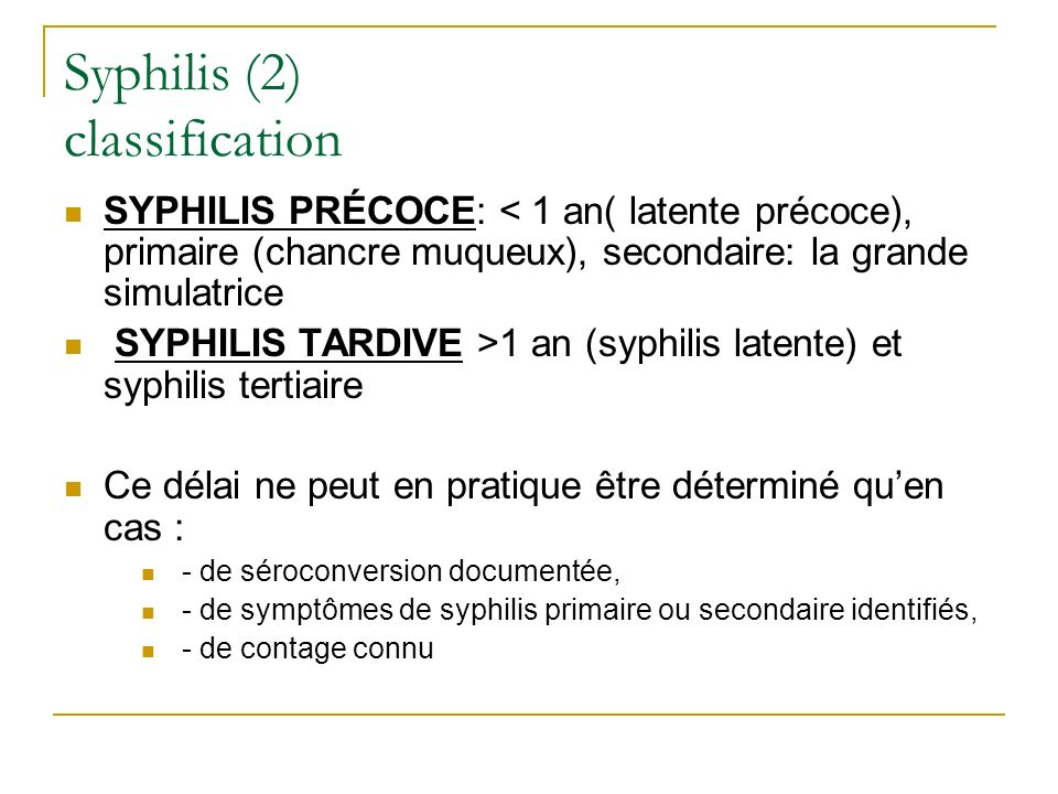 Syphilis (2) classification