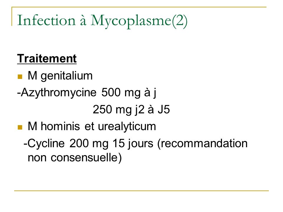 Infection à Mycoplasme(2)