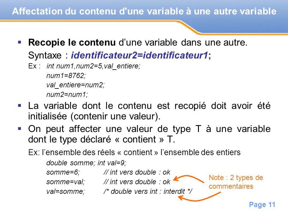 Affectation du contenu d une variable à une autre variable