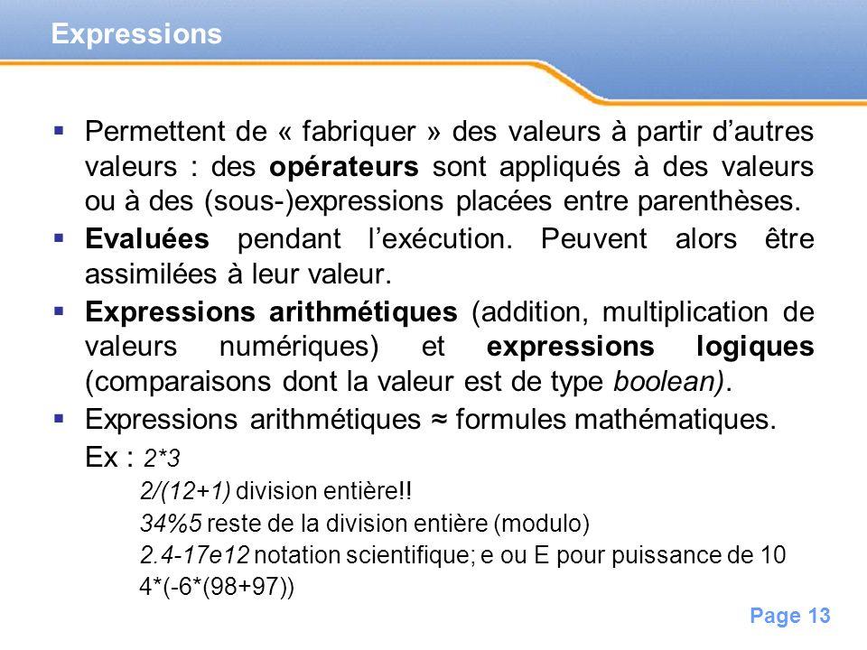 Expressions arithmétiques ≈ formules mathématiques. Ex : 2*3