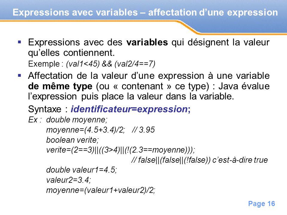 Expressions avec variables – affectation d'une expression