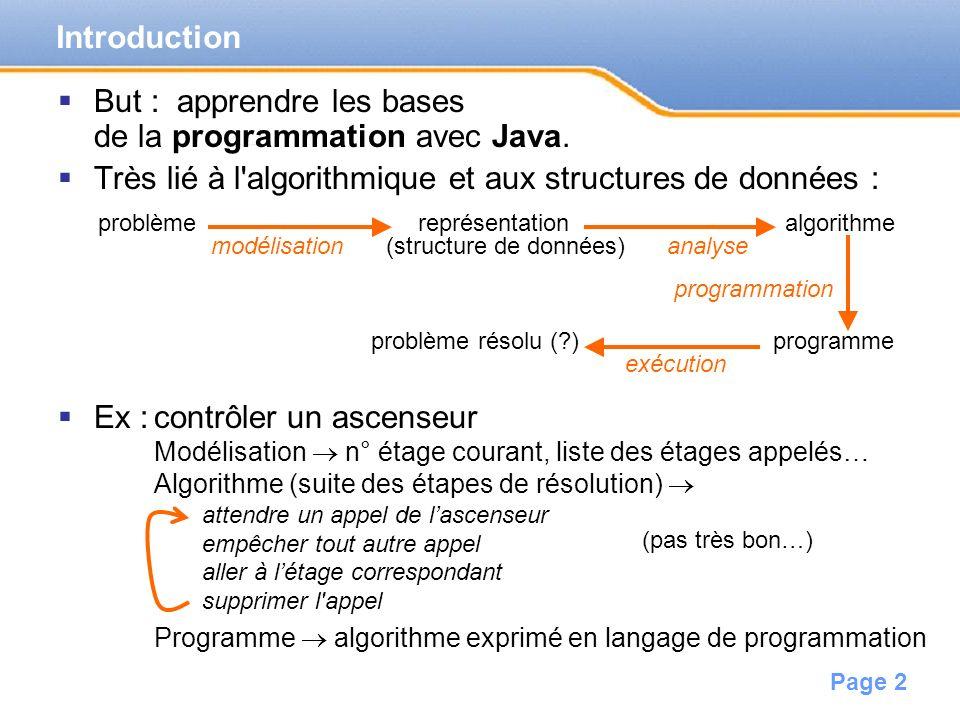 But : apprendre les bases de la programmation avec Java.